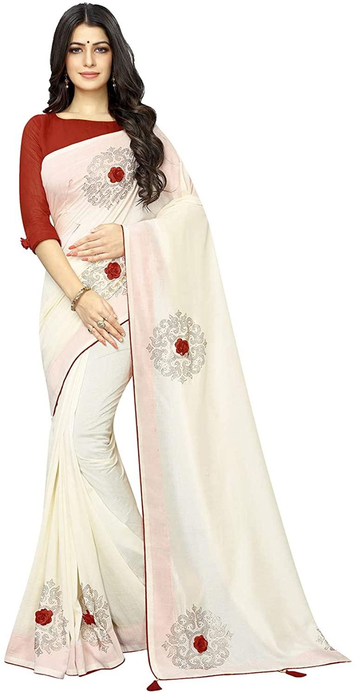 Indian Saree for Women Ethnic Sari Off White Vichitra Two- Ton Silk Sari with Unstitched Blouse. ICW2689-2
