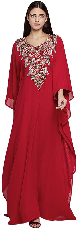 Kaftan Women Long Sleeves Georgette Maxi Dress Formal Gown Evening Dress Red