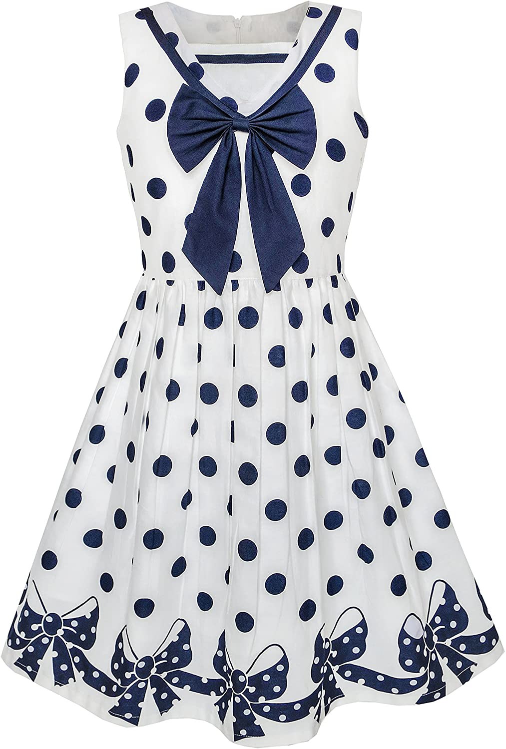 Sunny Fashion Girls Dress Navy Blue Dot Bow Tie Back School Size 5-12