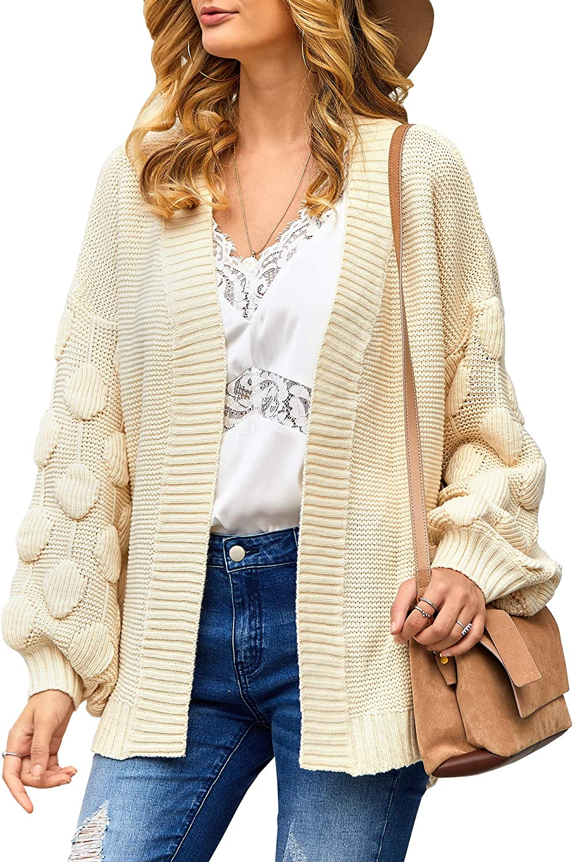 YeMgSiP Womens Oversized Chunky Open Front Cardigan Pom Pom Balloon Sleeve Knit Duster Sweaters Kimono Coat