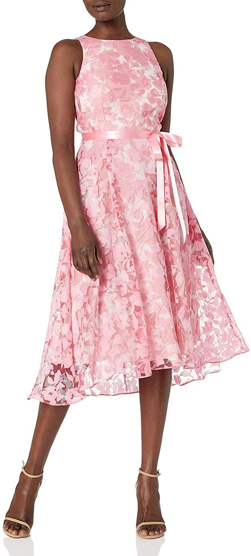 Tahari ASL Women's Sleeveless Lace Overlay Flared Skirt Party Dress