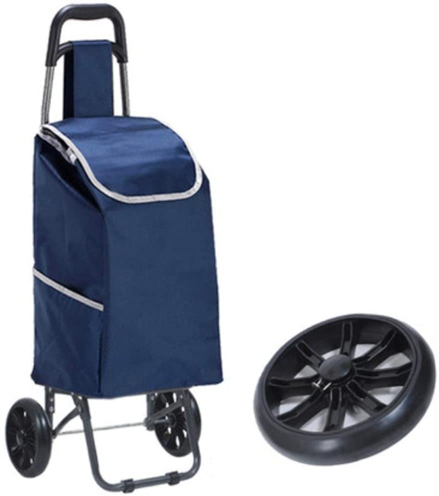 LUCKYYAN Lightweight 2 Wheel Portable Foldaway Shopping Trolley , blue