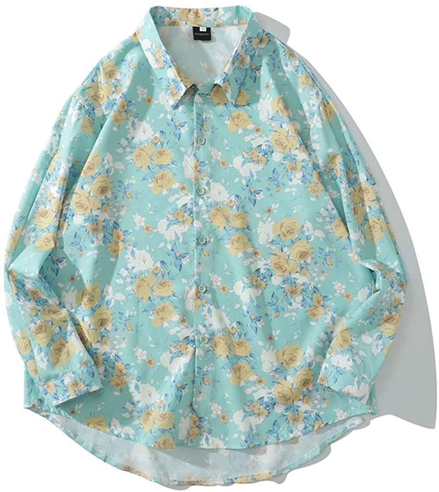 OTNZQZYF Printed Long Sleeve Shirt Men Streetwear Fall Shirt Retro Shirts Harujuku Mens Shirt X1027