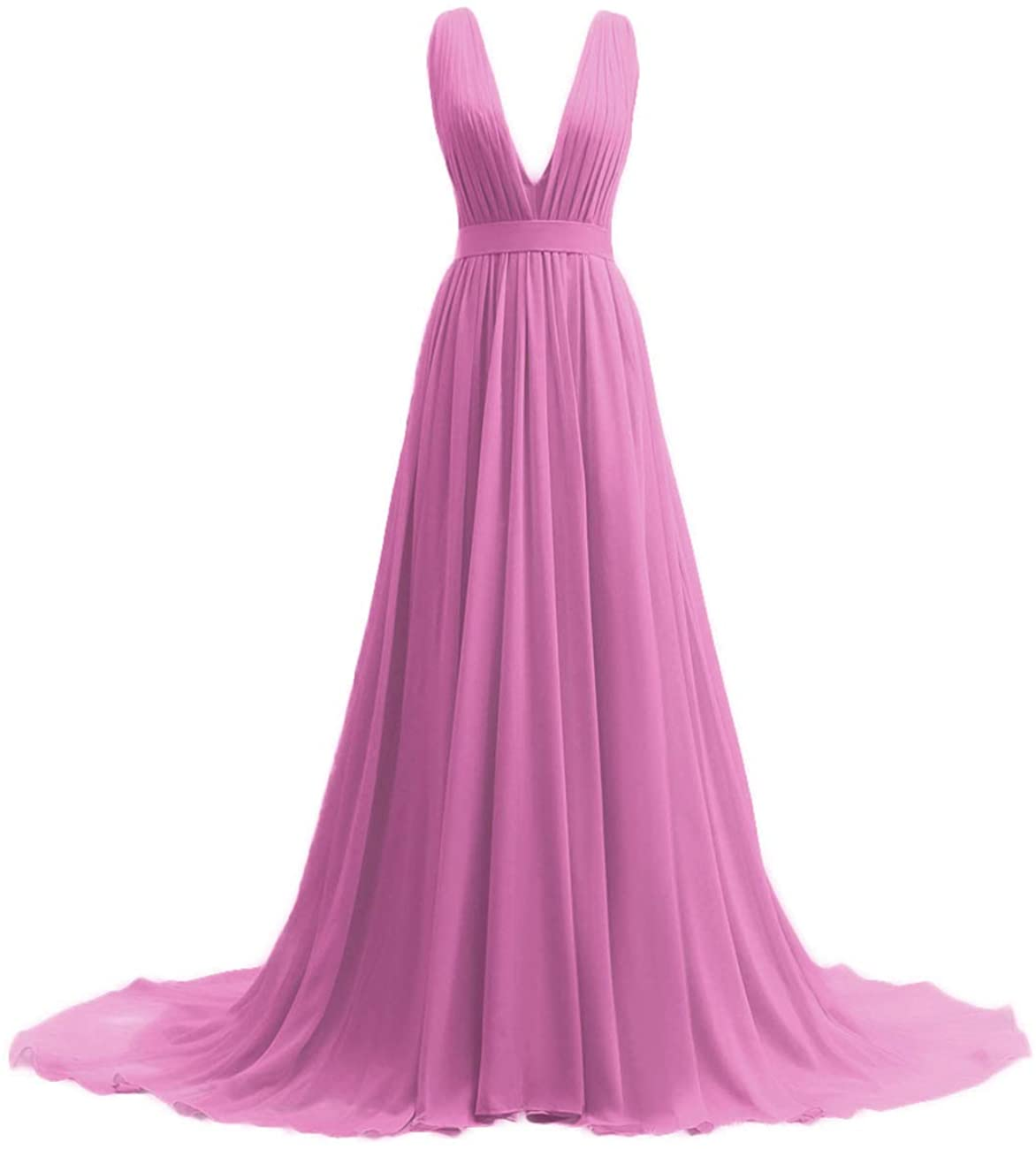 HUINI Bridesmaid Dresses V Neck Prom Dress Long Evening Gowns for Wedding A Line Chiffon