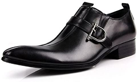WOUFU Men's Business Shoes Pointed Toe Buckle Slip On Leather Oxford Dress Shoes