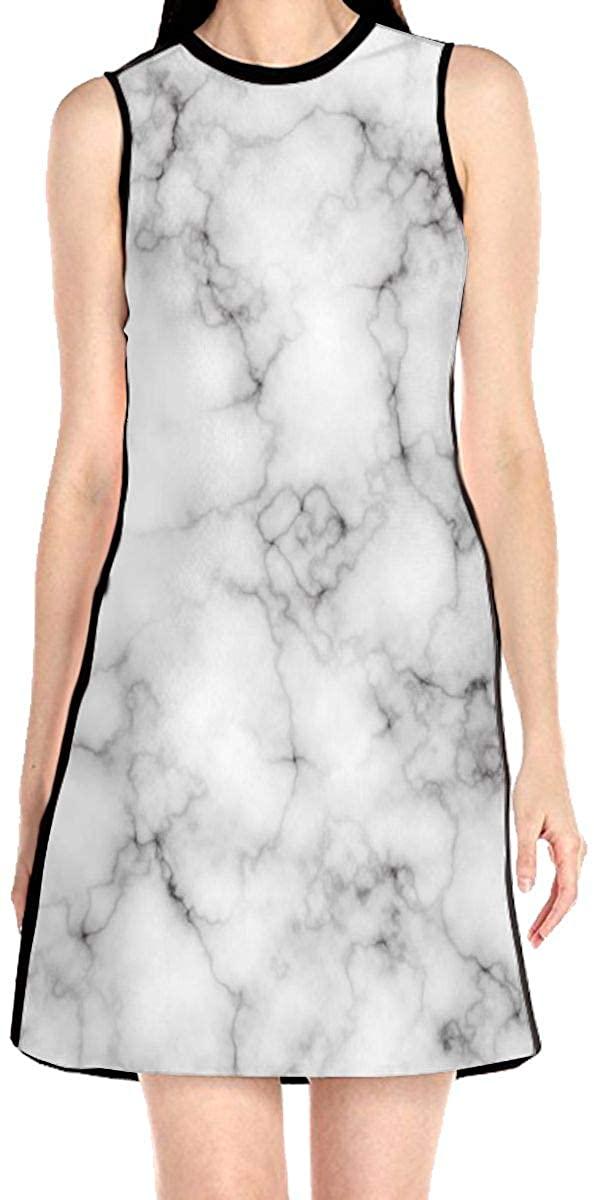 WAYMAY Colorful Light Marble Dress Sleeveless A-Line Dress Tank Dresses Elegant Dress