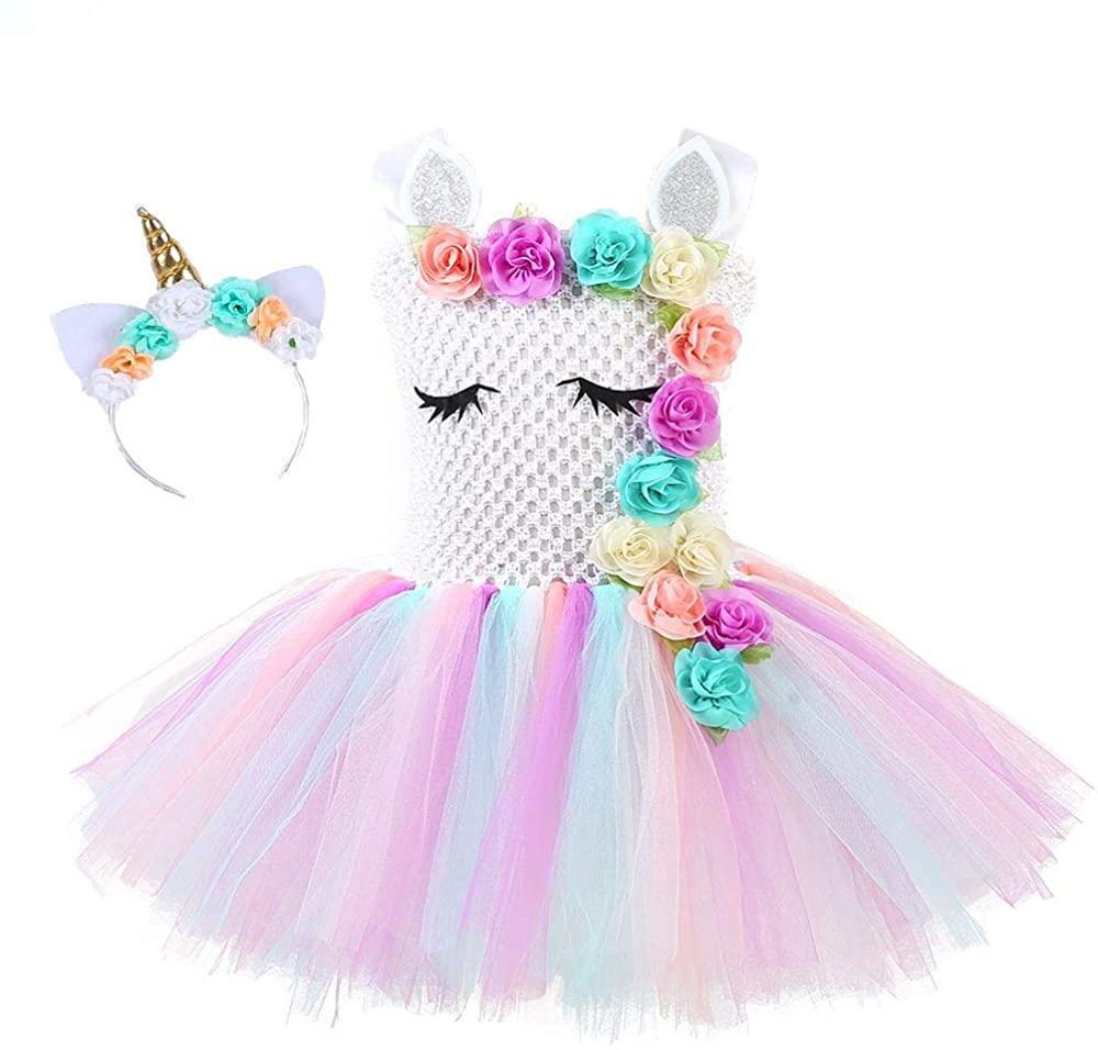 Kids Costume Dress,Girls Tutu Dress, Flower Girls Unicorn Costume Pageant Princess Party Dress with Unicorn Horn Head Band
