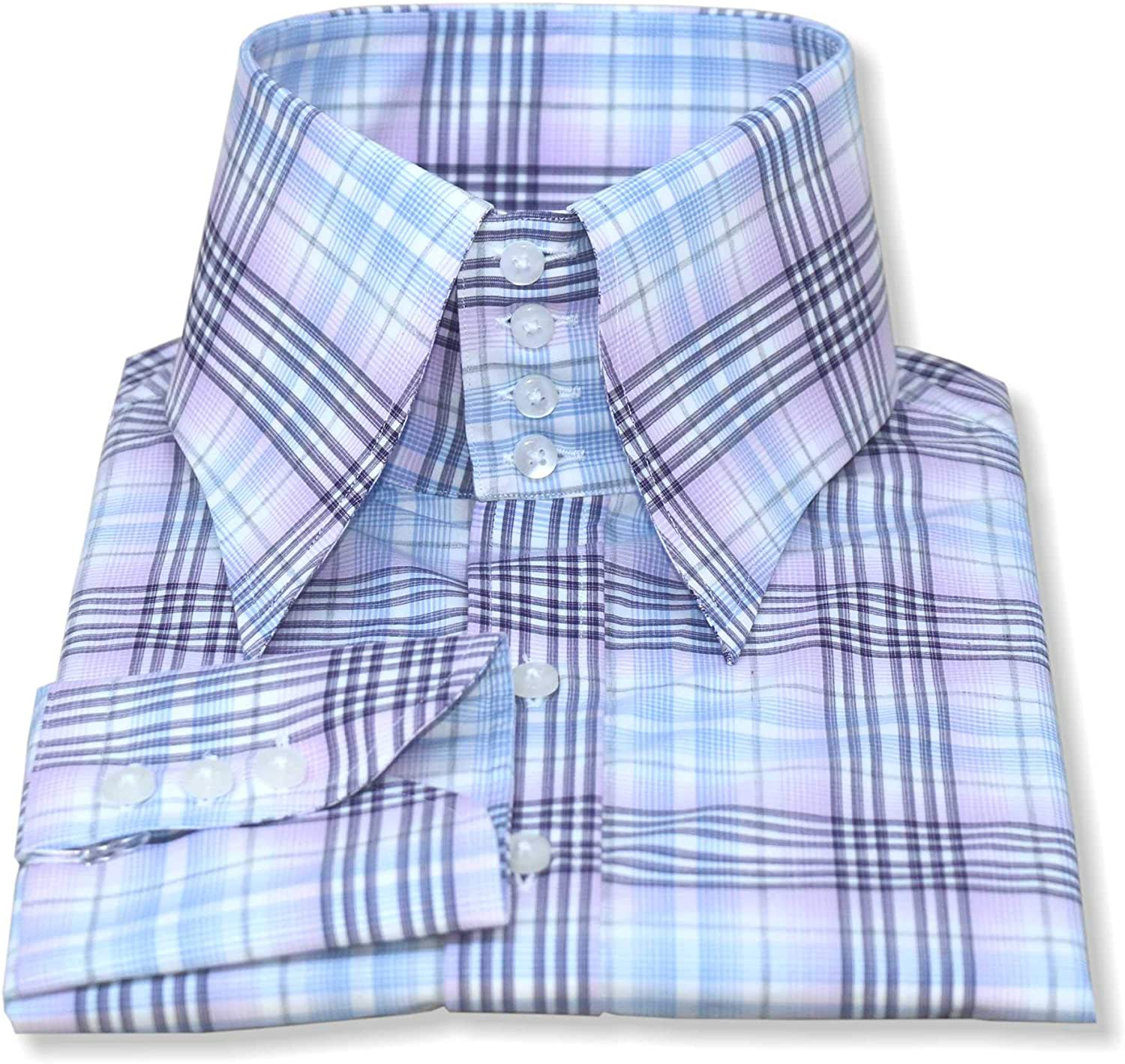 WhitePilotShirts Mens Long Point High Collar Casual Pink Checks 4 Buttons Spread Collar Cotton Shirt Gents