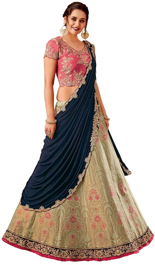 INMONARCH Green Weaved Silk Bridal Lehenga Saree SSR5731