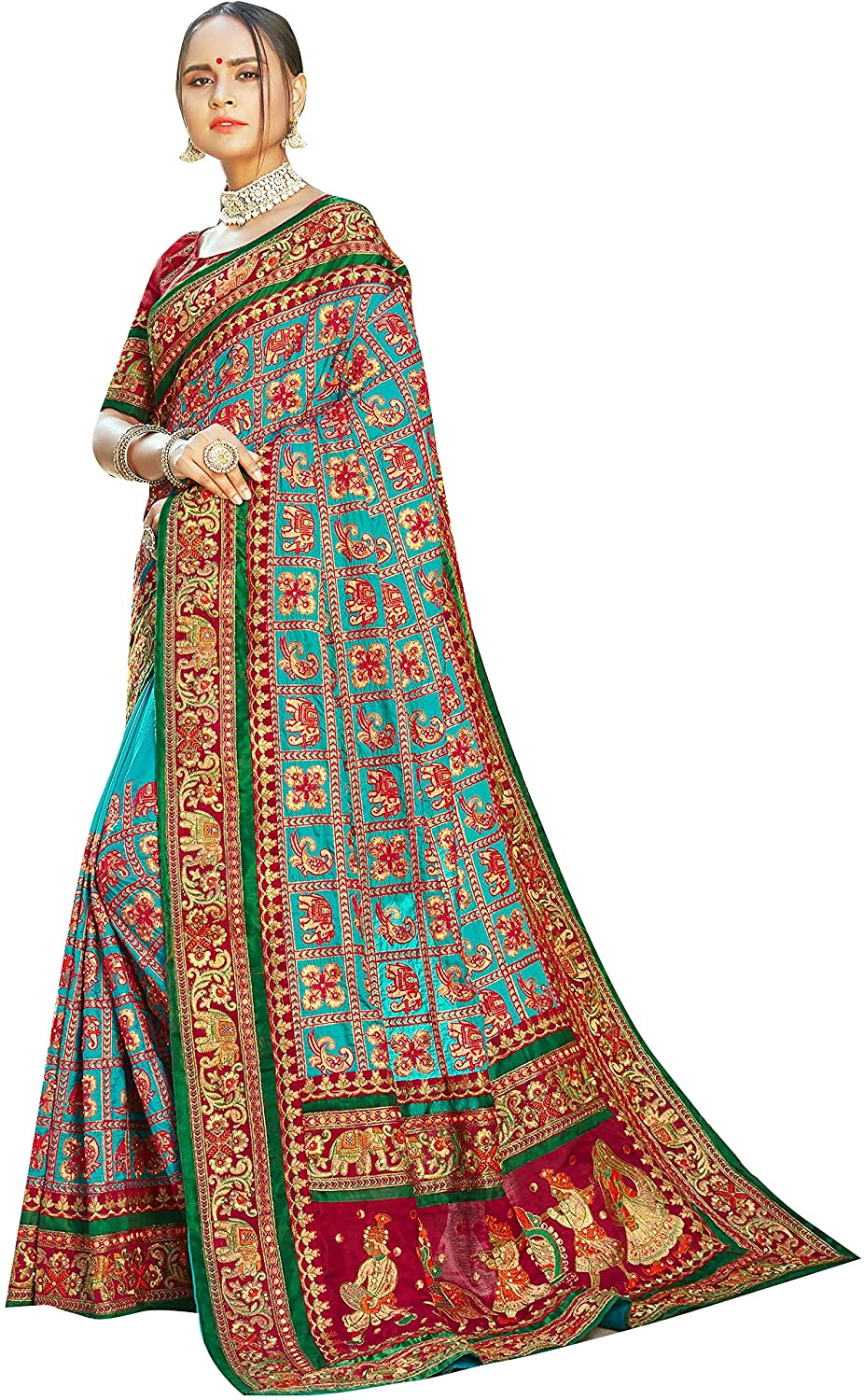 Sarees for Women Satin Silk Heavy Embroidered Saree ||Ethnic Traditional Indian Wedding Gift Sari with Unstitched Blouse