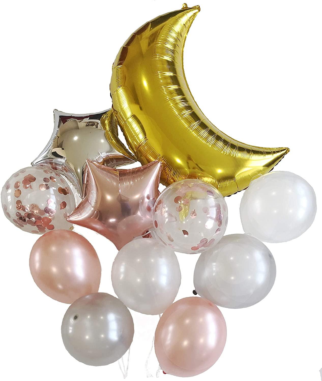11 Piece Party Decoration Set - 36 inch Aluminum Foil Moon, 18 inch Aluminum Foil Stars and 12 inch Confetti and Latex Balloons (Rose Gold)