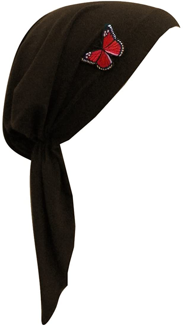 Pre Tied Chemo Head Scarf Bandana Headwear - Red Butterfly