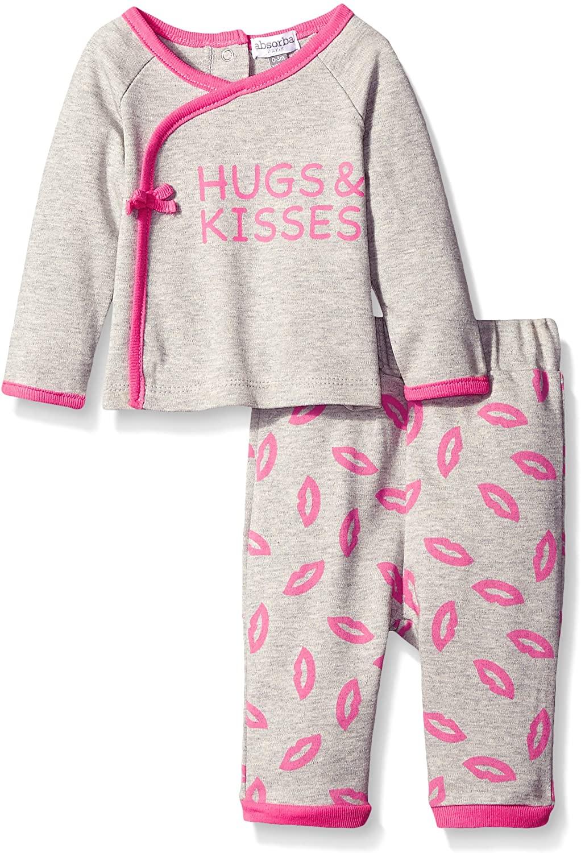absorba Baby Girls Kisses and Hugs Pant Set