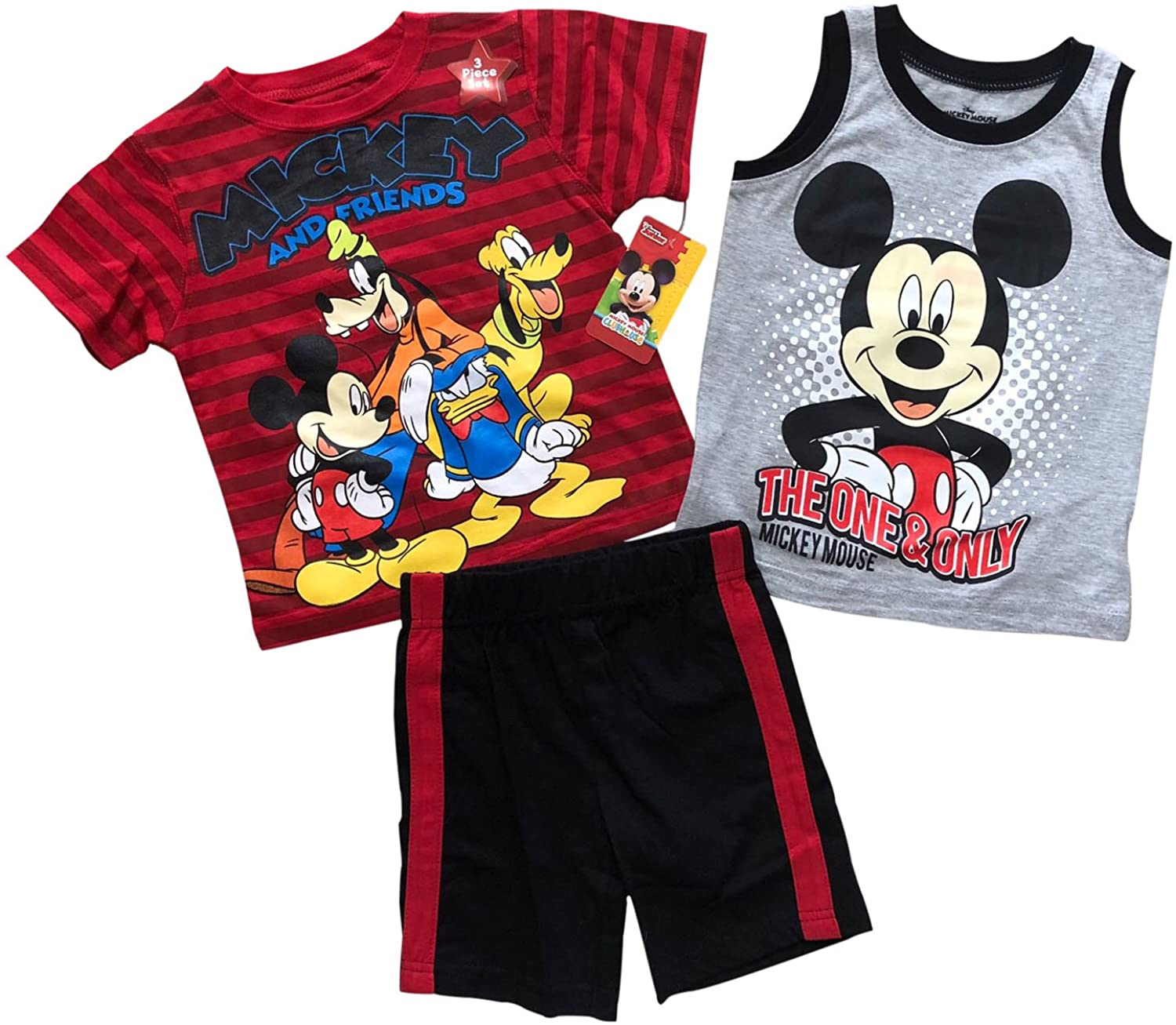 Disney Mickey & Friends 3 Pieces Summer Boys Clothing Set | 100% Cotton (12m- 4T)