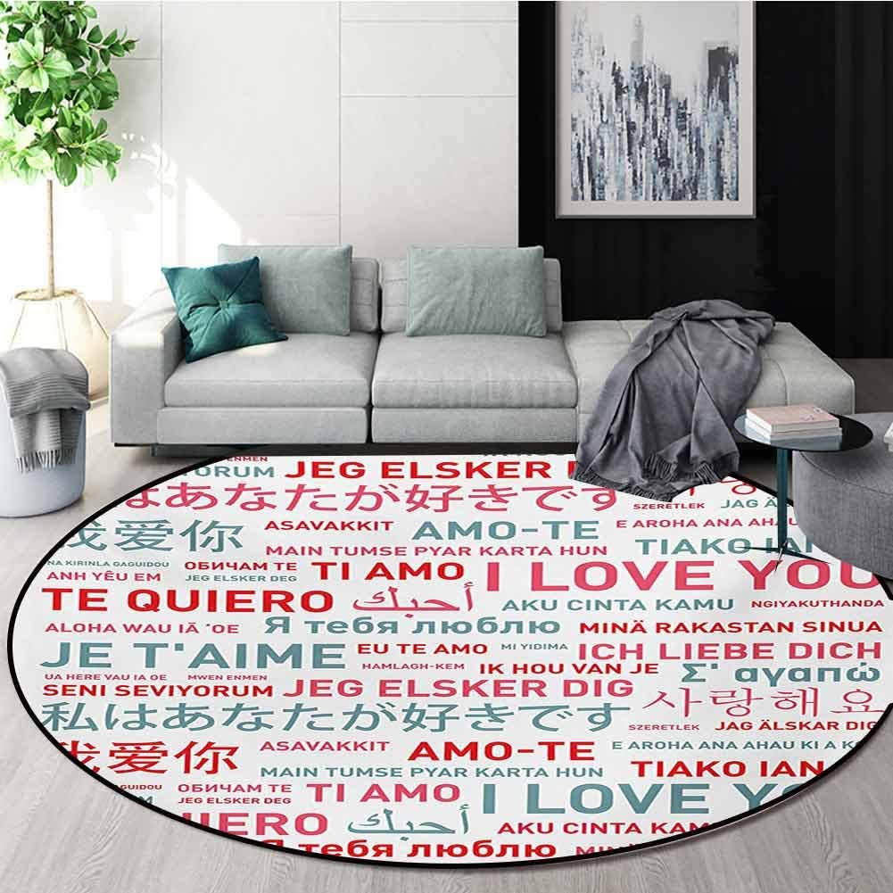 RUGSMAT Love Rug Round Home Decor Area Rugs,Emotional Messages in Various World Languages Valentines Theme Romantic Design Non-Skid Bath Mat Living Room/Bedroom Carpet,Diameter-55 Inch