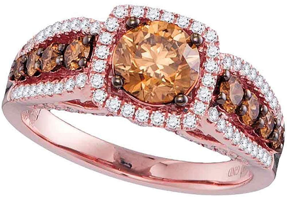 Dazzlingrock Collection 14kt Rose Gold Round Brown Diamond Solitaire Bridal Wedding Engagement Ring 1-7/8 Cttw