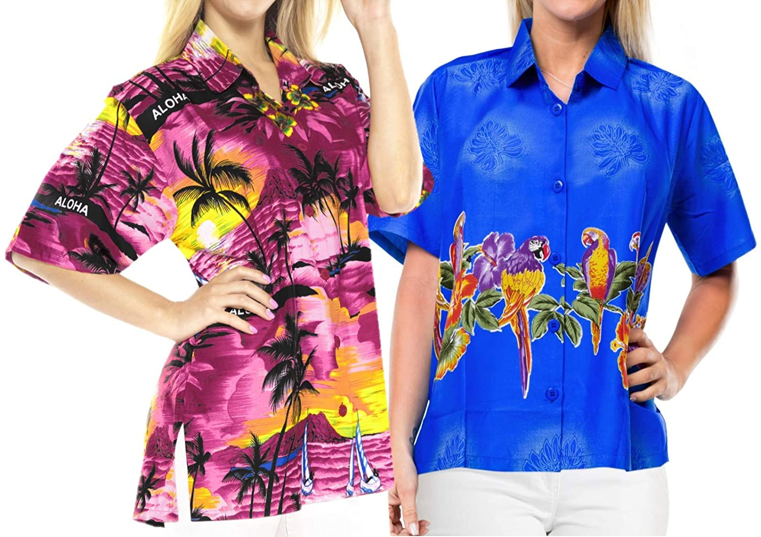 LA LEELA Women Hawaiian Boyfriends Shirt Ladies Beach Blouses Tops XXL Work from Home Clothes Women Blouse Pack of 2