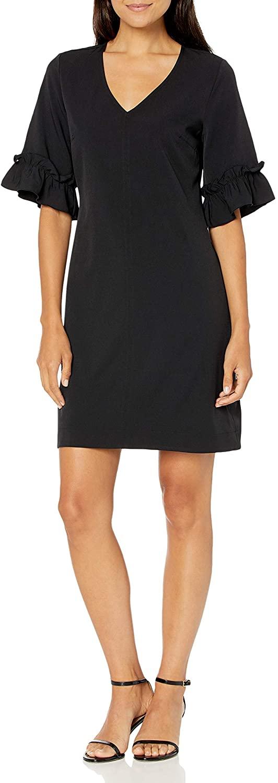 DHgate Brand - Lark & Ro Women's Florence Ruffle Half Sleeve V-Neck Shift Dress