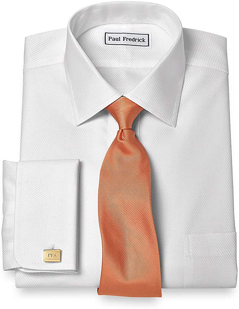 Paul Fredrick Men's Slim Fit Non-Iron Cotton Twill Spread Collar French Cuff