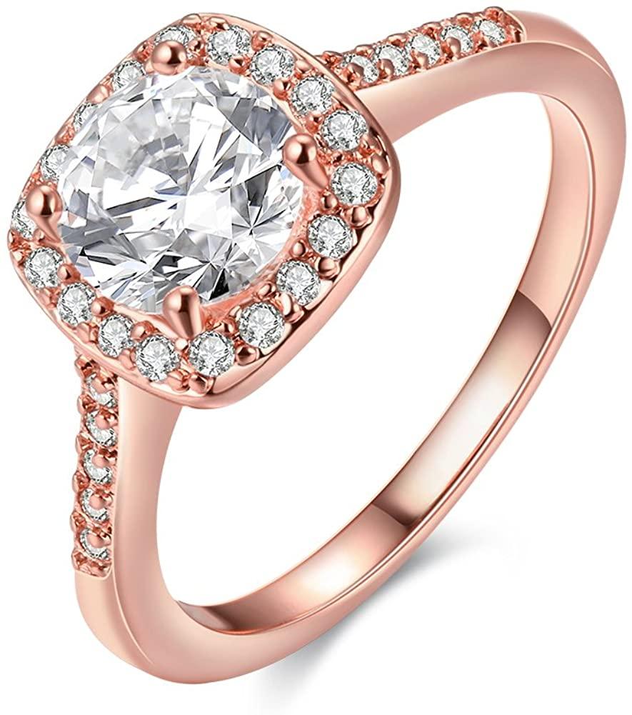 Uloveido Women's CZ Crystal Square Engagement Rings Best Promise Rings Wedding Bands for Women KR002