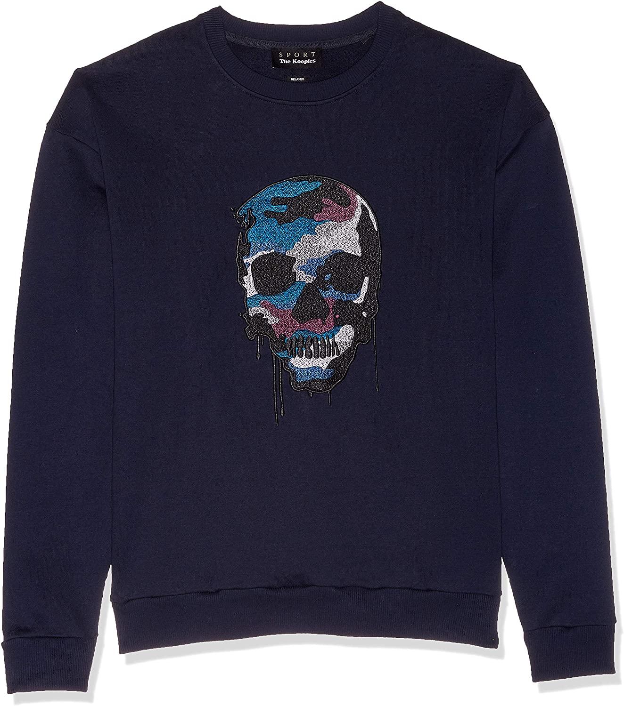 The Kooples Men's Men's Fleece Sweatshirt with Melting Skull Embroidery