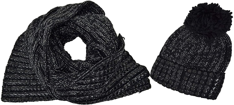 DKNY Macy's Women's 2 pc Value Flat-Stud Metallic Rib-Knit Chunky Scarf Hat Gift Set Black Silver