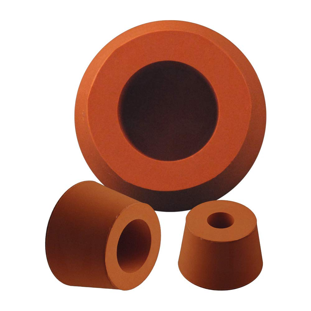 Silicone Hollow Tapered Plugs - Orange 1.306/1.622 Hollow Silicone Plug, Red-Oxide MOCAP MHSP1.306/1.622 (qty5)