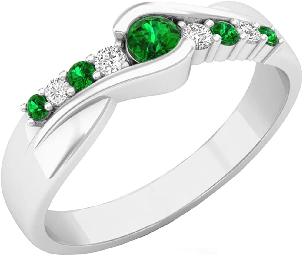 Dazzlingrock Collection 10K Gold Round Cut Emerald & Diamond Ladies Bypass Engagement Ring 1/4 CT