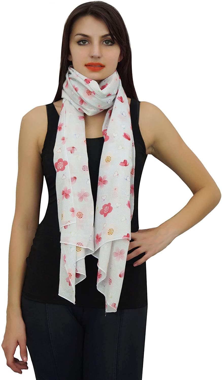 Phagun 100% Cotton Lightweight, Shawl, Scarves Floral Print Scarf Dupatta Women Neck Wrap Long Stole-28x72 Inches