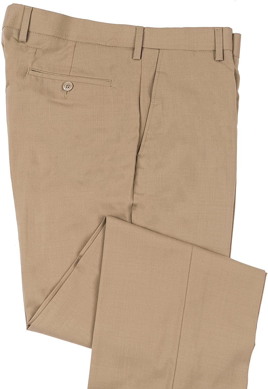Enro - Expandable Waist Comfort Wool Blend Mens Dress Pant, Flat Front Khaki 36