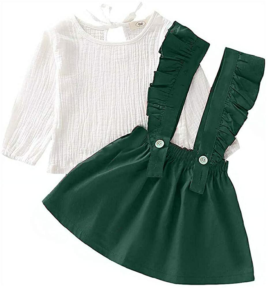 Toddler Baby Girl Skirts Sets Cotton Linen Long Sleeve Tops + Ruffle Strap Suspender Dress Fall/Winter Outfits Clothes