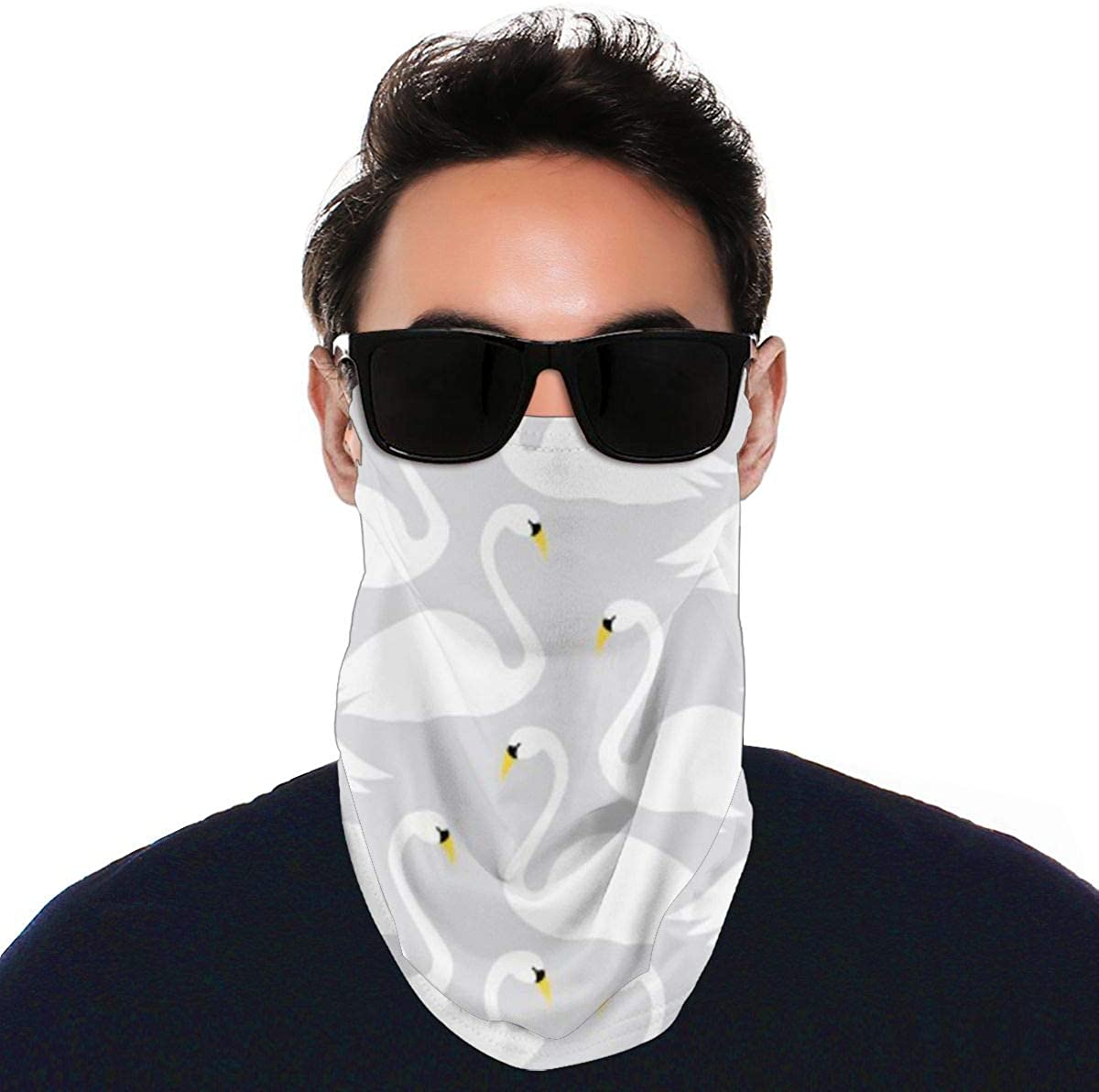 Face Cover Bandana With Ear Loops Scarf Swan Pattern Neck Gaiters Sun Uv Dust Protection For Men Women