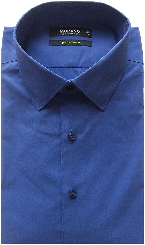 Murano Slim Fit Spread Collar Performance Solid Dress Shirt S85DM043 Marine Blue