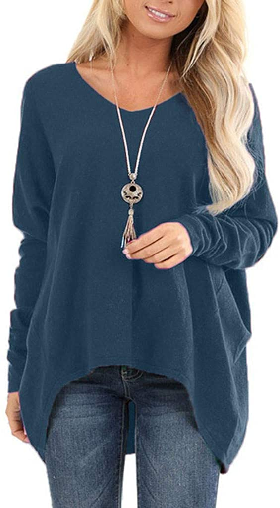 Oldlover-Women Oversized Long Sleeve Shirt V Neck Plain Loose Fit Casual Shirt Tunic Tee Tops High Low T-Shirt Blouse