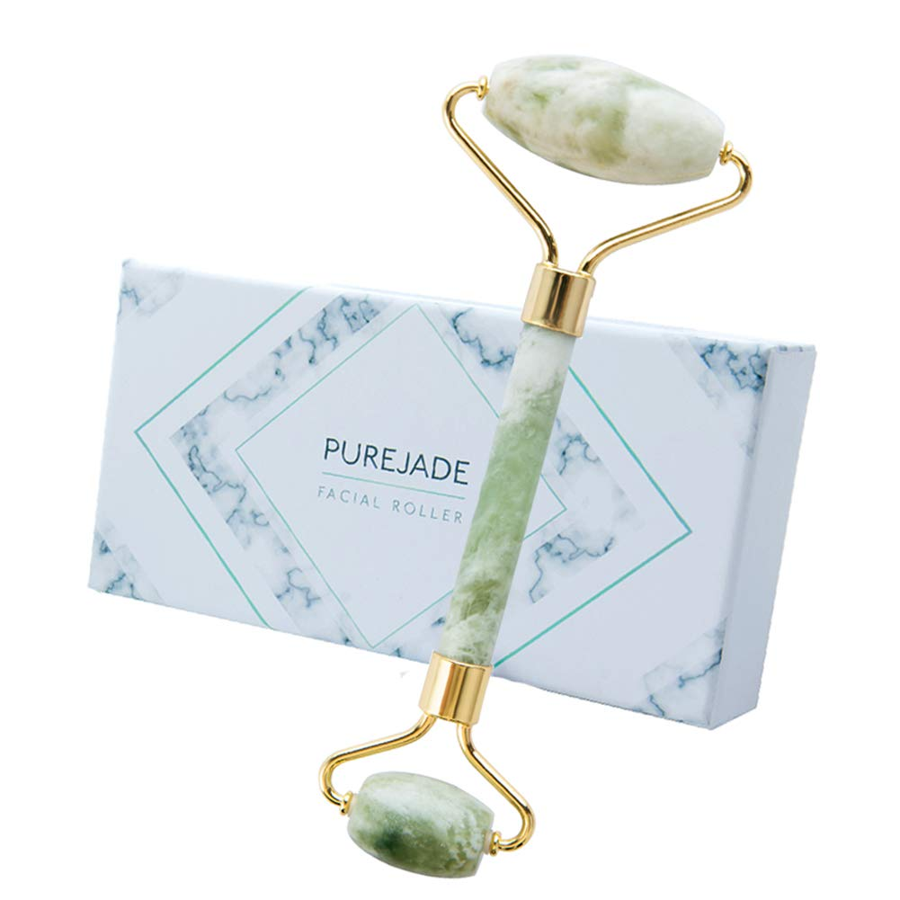 Jade Roller -100% Natural Jade Face Roller/Anti Aging Jade Stone Massager for Face & Eye Massage - Make Your Face Skin Smoother and Looks YoungerLight Green)