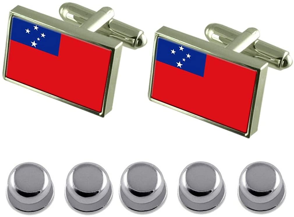 Select Gifts Shirt Dress Studs Western Samoa Flag Cufflinks