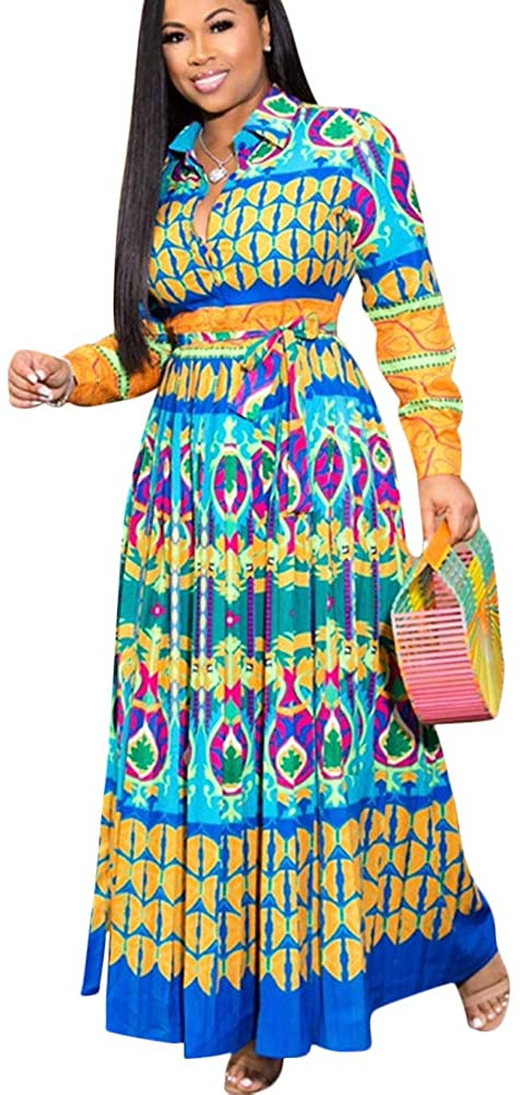 Maxi Dresses for Women Plus Size - Casual Button Down Floral Boho Pleated Skirts