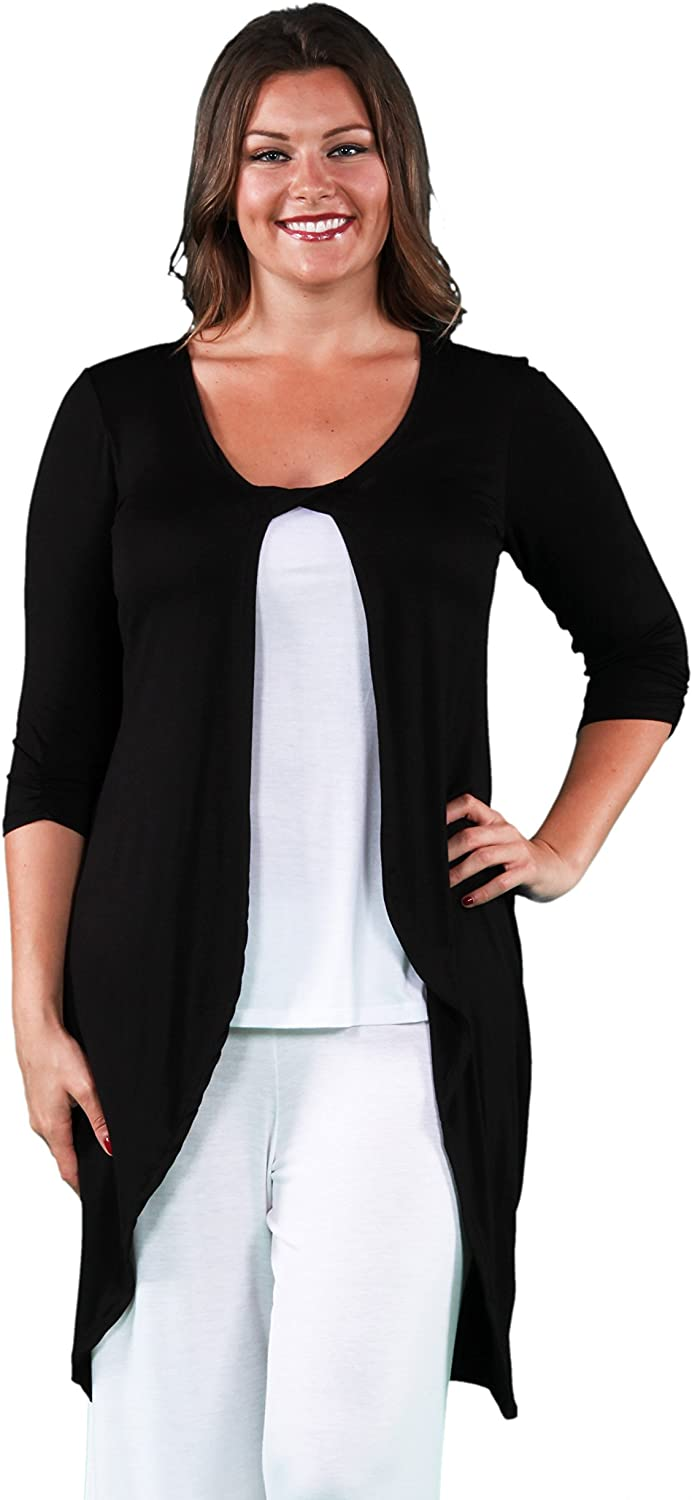 24seven Comfort Apparel Women's Plus Size 3/4 Length Sleeve Front Twist Long Cardigan - Made in USA - (Sizes 1XL-3XL)