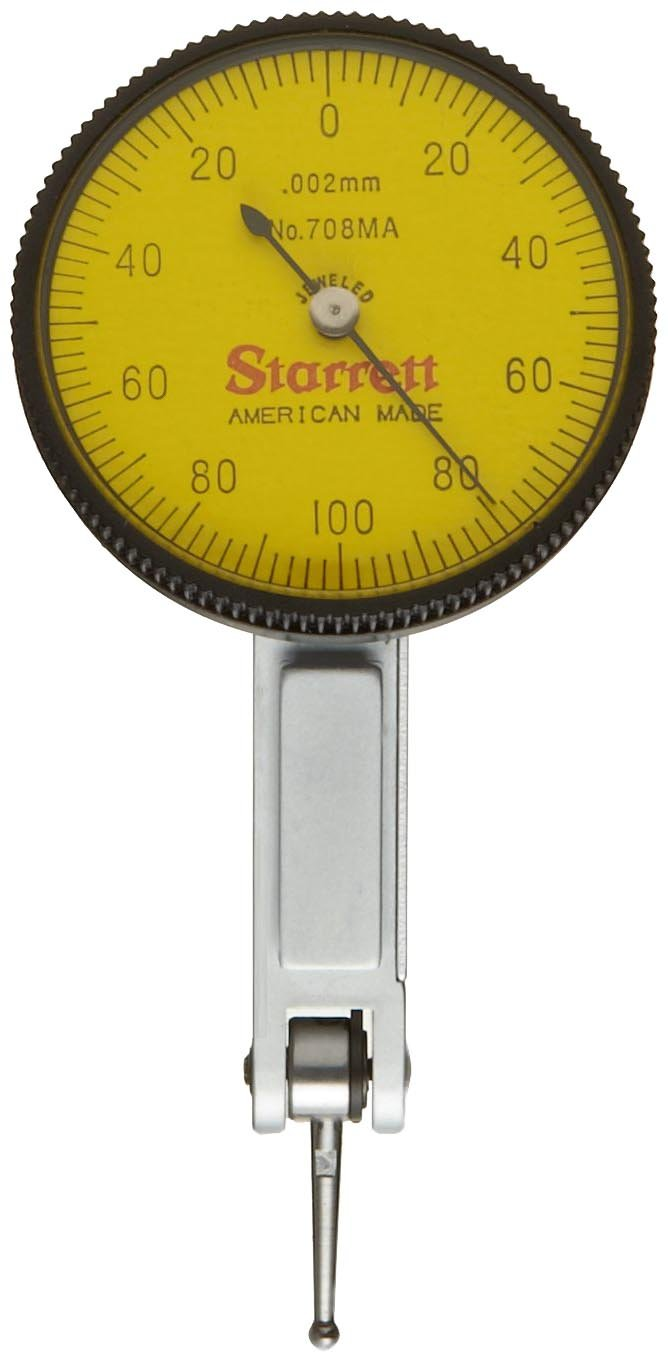 Starrett 708MAZ Dial Test Indicator without Attachments, Dovetail Mount, Yellow Dial, 0-100-0 Reading, 35mm Dial Dia., 0-0.2mm Range, 0.002mm Graduation