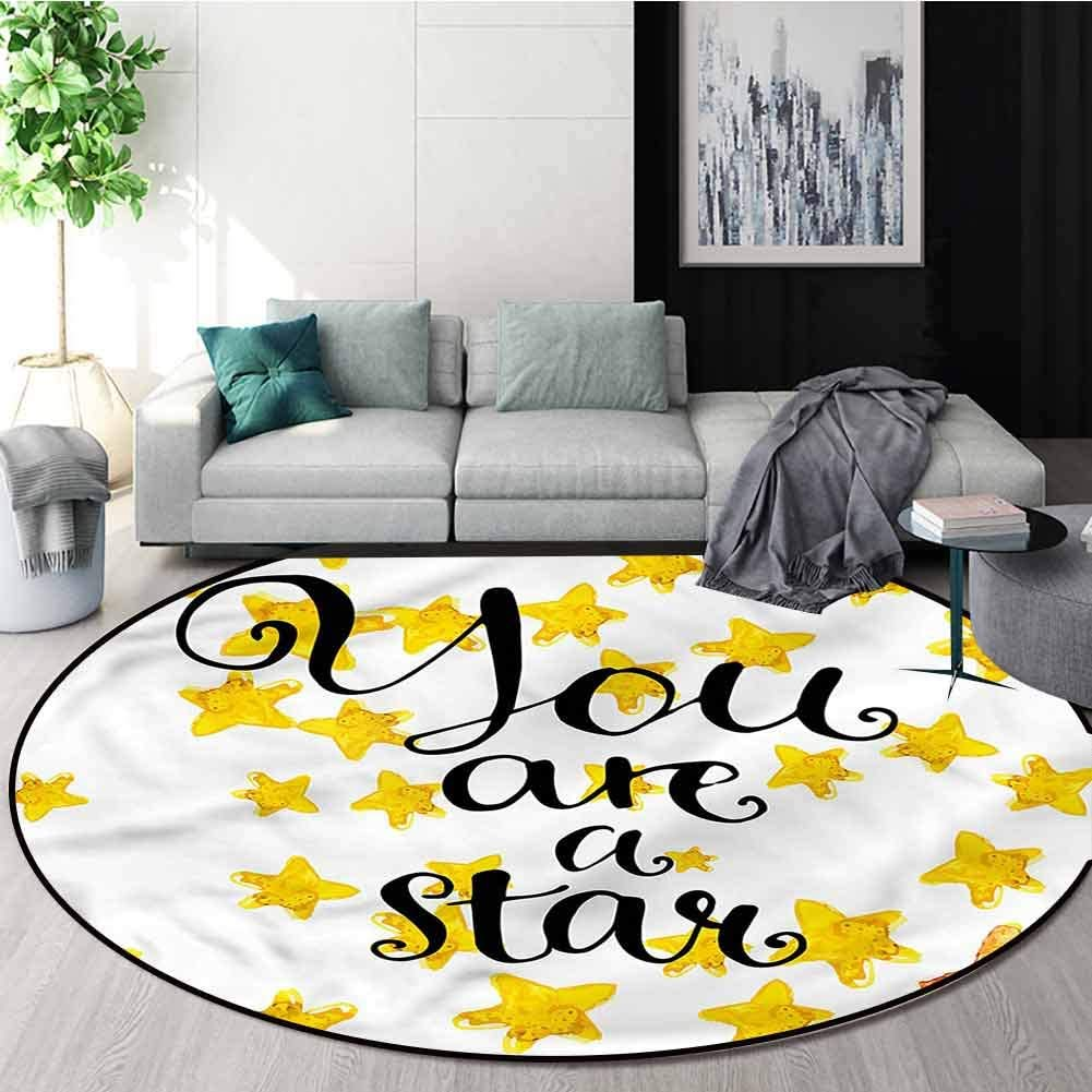 RUGSMAT Lifestyle Super Soft Circle Rugs for Girls,Motivational Star Phrase Design Non-Slip Fabric Round Rugs for Bedroom Diameter-39
