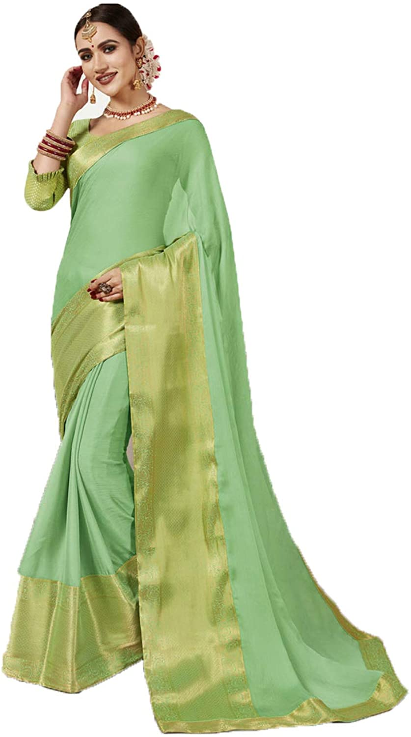 Saree for Women Bollywood Wedding Designer Green Sari with Unstitched Blouse. ICW2559-9
