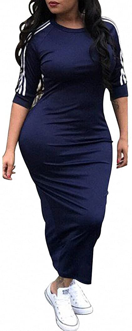 Remelon Womens Casual Striped Half Sleeve Crewneck Tunic Bodycon Long Pencil Midi Dress