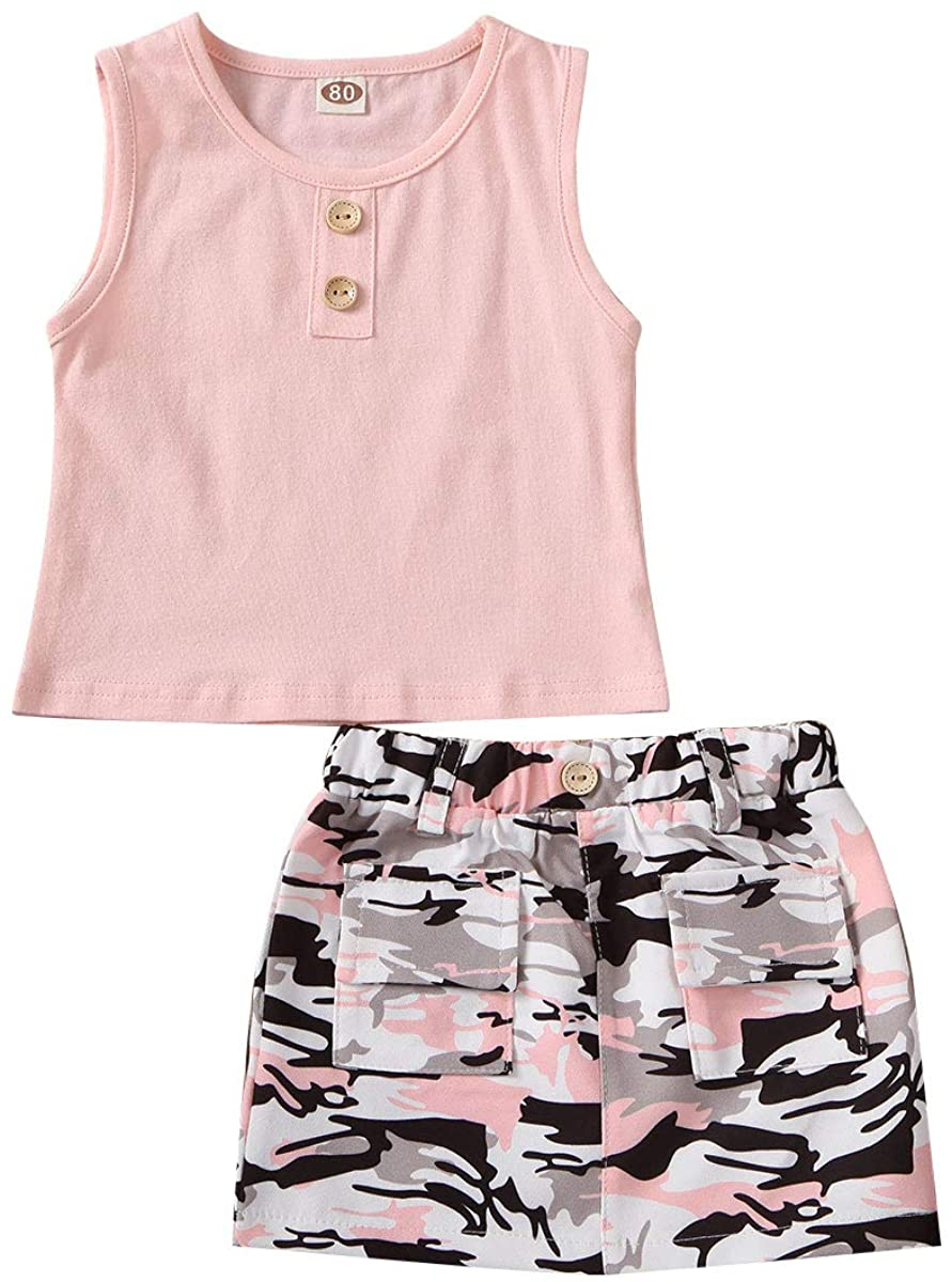 2Pcs/Set Fashion Toddler Kids Baby Girl Tank Top+Camouflage Mini Skirt Summer Outfits(Pink+Camo Skirt, 5-6 Years)