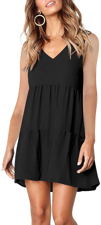 Amoretu Womens Loose V Neck Sleeveless Summer Dresses