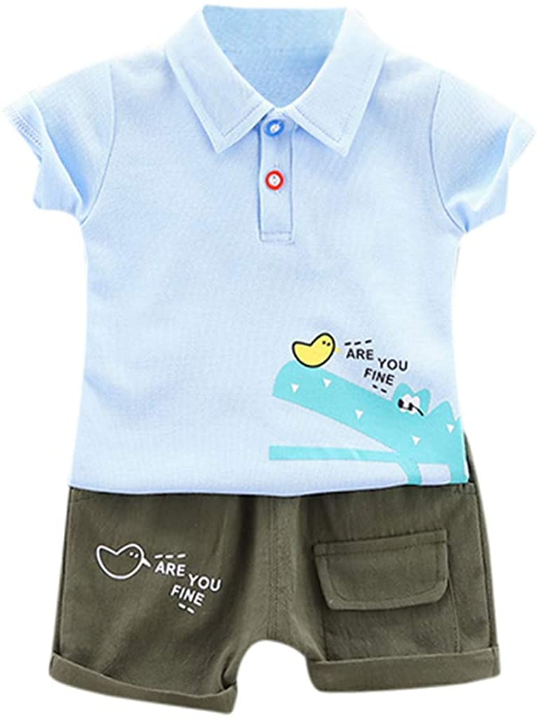Baby Boys Summer Short Sleeve Outfit Clothes, Toddler Kids Cartoon t-Shirt Tops Shorts Pants Cotton Casual Sports Set