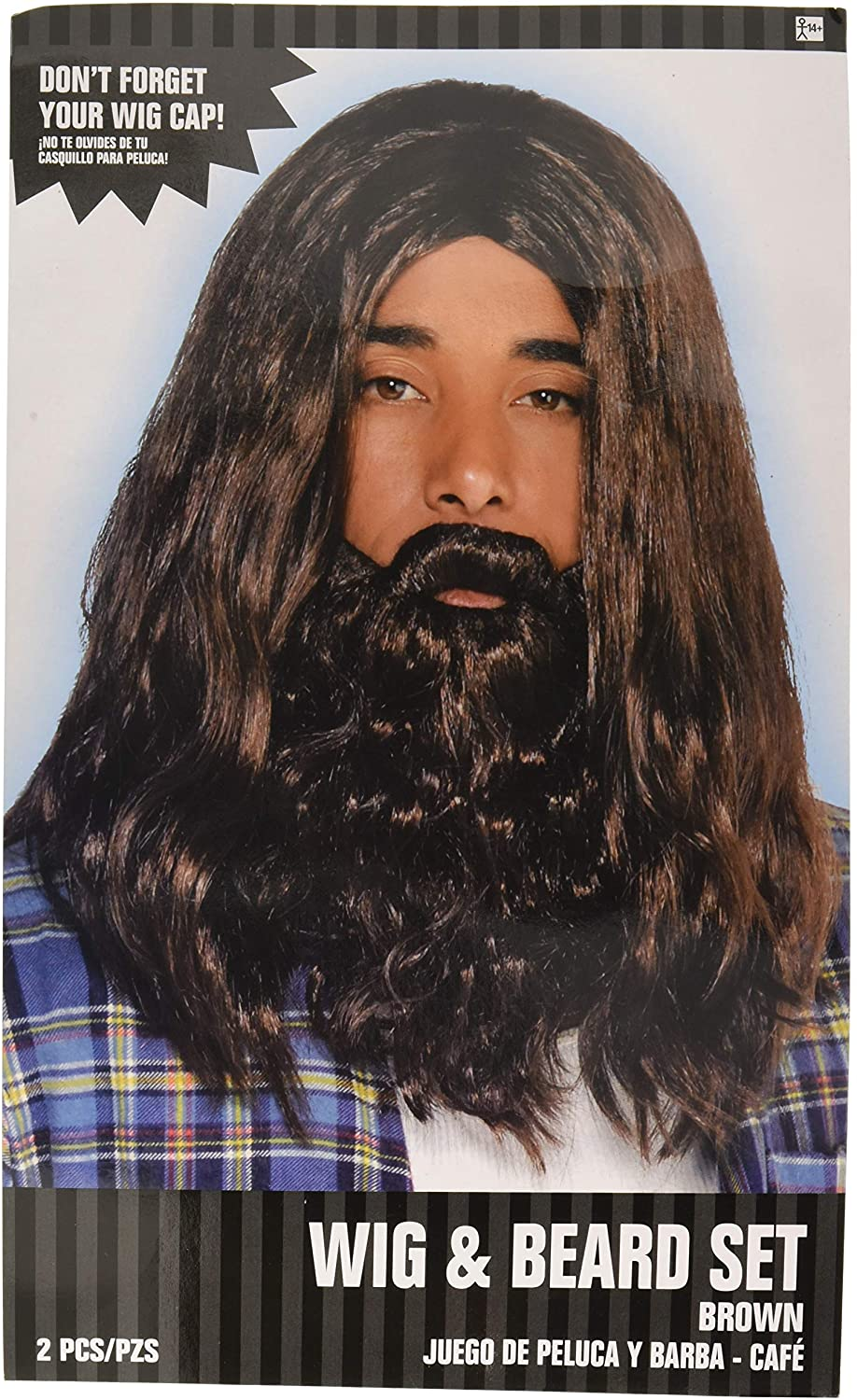 AMSCAN Hippie Wig and Beard Halloween Costume Accessories, One Size