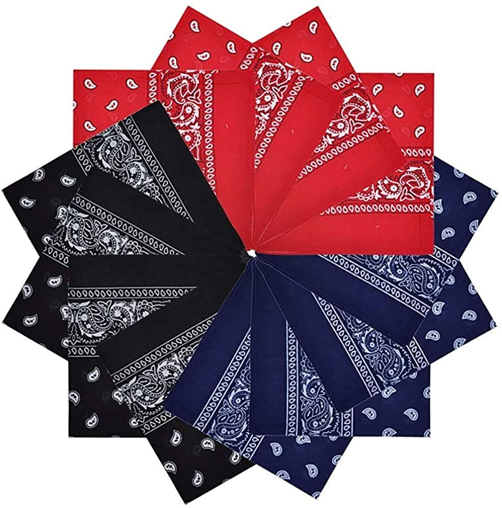 Bandanas 12 pack 100% Cotton Paisley Print Head Wrap Scarf Wristband Headbands NeckGaither Scarf for Men Women 4red 4navy 4black