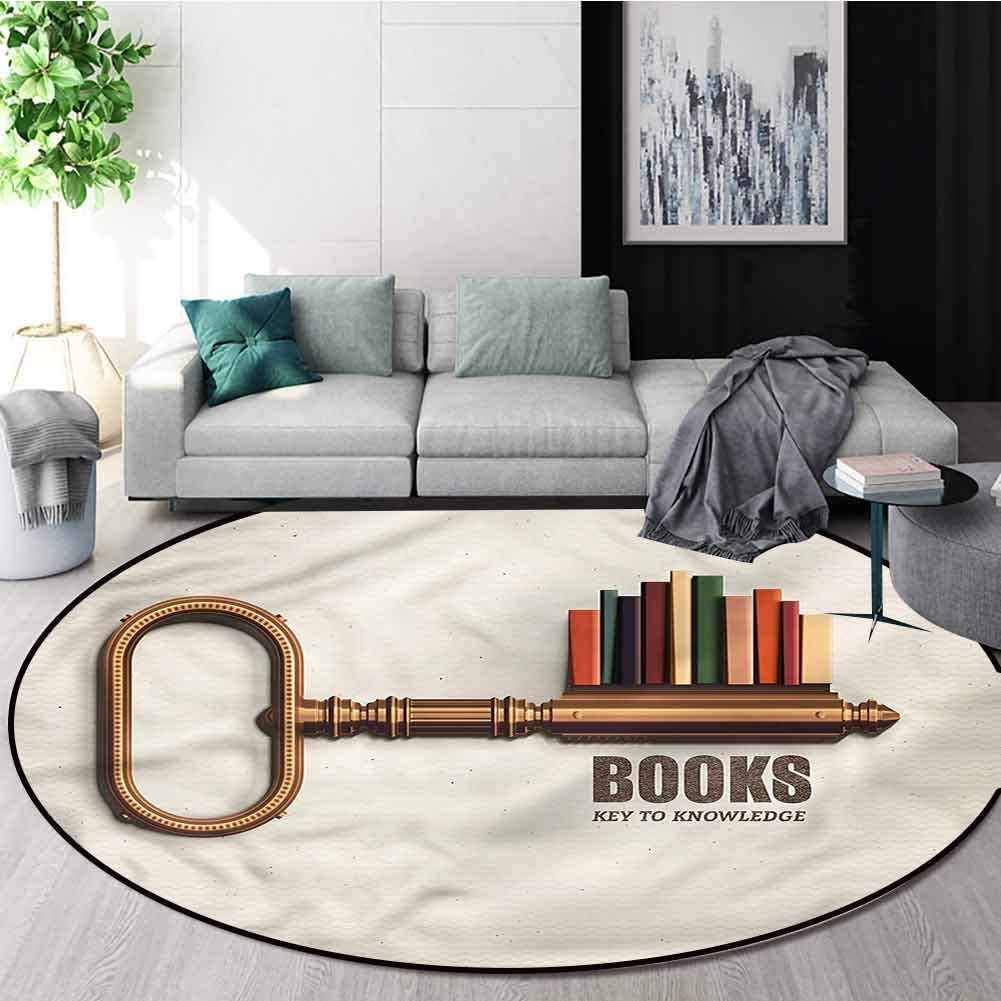 RUGSMAT Book Computer Chair Floor Mat,Key to Knowledge Theme Circle Rugs for Living Room Round-55