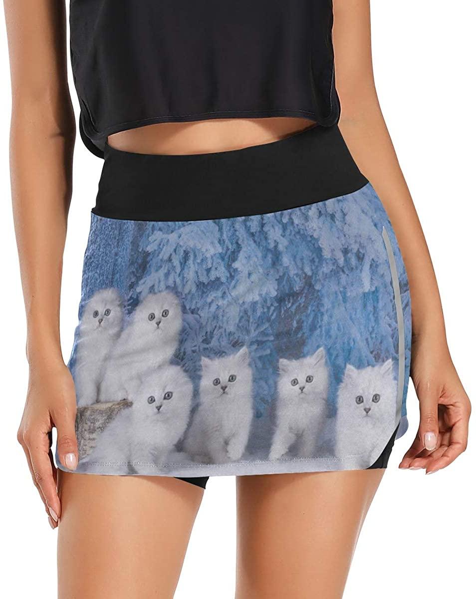 Women's Tennis Skirts Pockets Winter White Cat Kitten Skorts Golf Skirts Inner Biker Shorts Cute