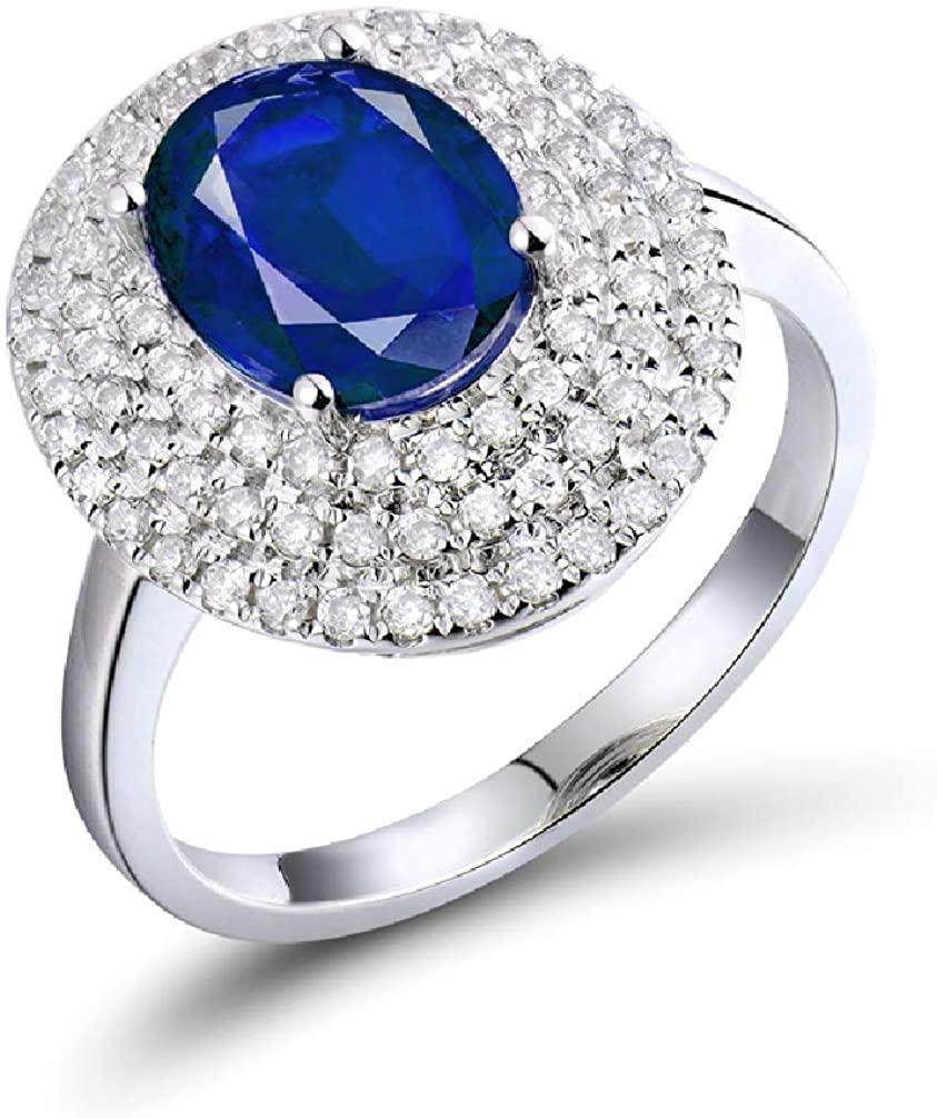 Lanmi 14K White Gold Genuine Blue Sapphire Rings Engagement Diamond Wedding Band for Women